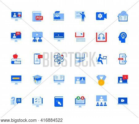 Video Call And Online Meeting Icons Set For Personal And Business Use. Vector Illustration Icons For