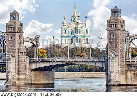 landscape with Smolny cathedral and Bolsheokhtinsky Bridge in Saint Petersburg, Russia
