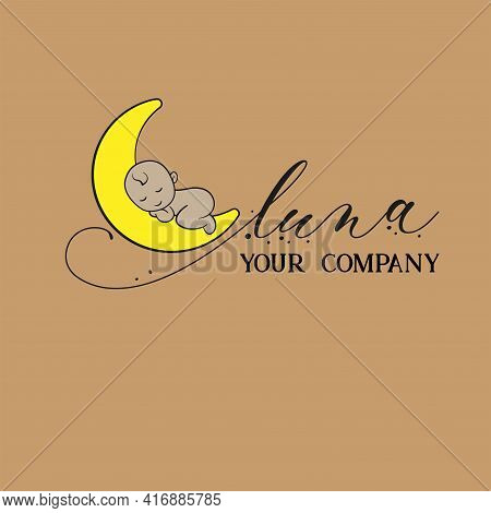 Luna Baby Icon Logo Design. Isolated Luna Baby Logo