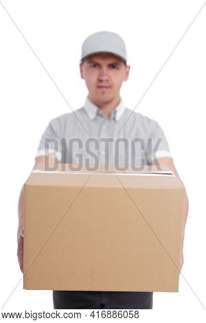 Deliverer Giving A Box Isolated On White Background