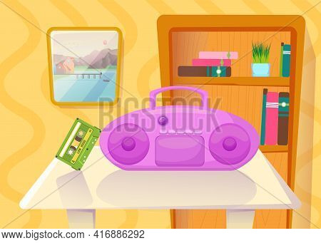 Tape Recorder With Cassette On Table In Front Of Bookcase. Pink Cassette Player And Tape In Living R