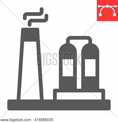 Refinery Glyph Icon, Factory And Industry, Chemical Plant Vector Icon, Vector Graphics, Editable Str