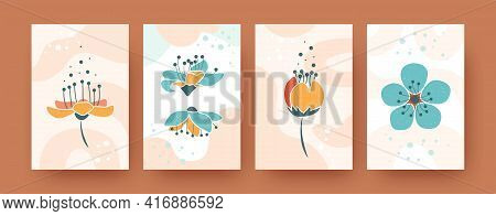Set Of Abstract Botanical Elements In Pastel Style. Gentle Flowering Templates In Vector Illustratio