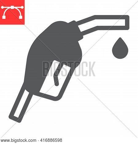 Gasoline Pump Nozzle Glyph Icon, Diesel And Gas Station, Fuel Pump Nozzle Vector Icon, Vector Graphi