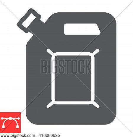 Jerrycan Glyph Icon, Fuel Gallon And Gas Can, Gasoline Canister Vector Icon, Vector Graphics, Editab