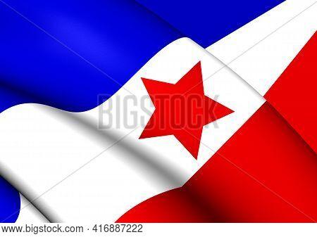 3d Flag Of Yugoslav Partisans. 3d Illustration.