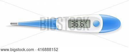 Electronic Modern Thermometer Isolated On White. A Realistic Temperature Diagnostic Tool. 3d Vector