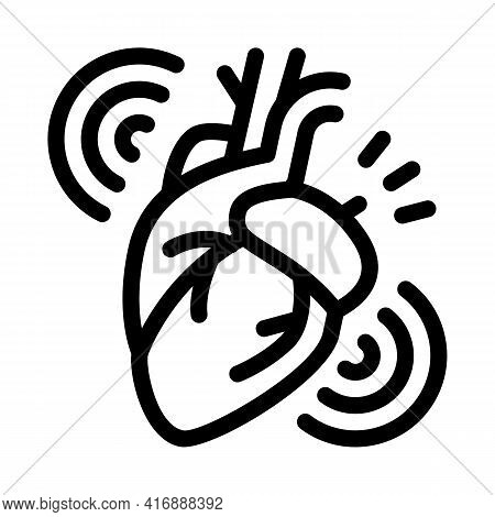 Heart Attack Line Icon Vector. Heart Attack Sign. Isolated Contour Symbol Black Illustration