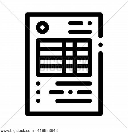 Document With Table Of Audit Credit And Debit Line Icon Vector. Document With Table Of Audit Credit