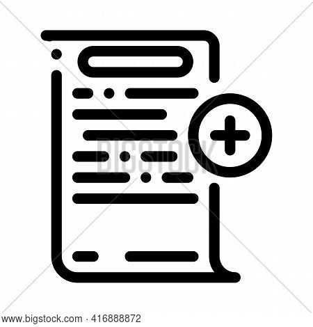 Adding Financial Document For Audit Line Icon Vector. Adding Financial Document For Audit Sign. Isol