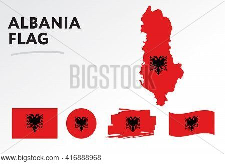 Albania Map On Albania Flag Vector. Circle Icon. Brush Stroke. Template For Independence Day. A Set