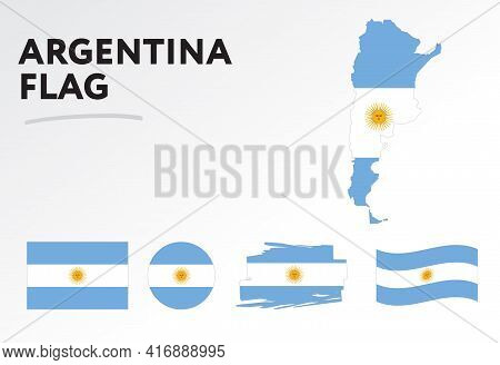 Argentina Map On Argentina Flag Vector. Circle Icon. Brush Stroke. Template For Independence Day. A
