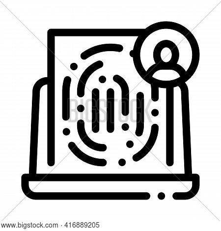 Finger Identity Line Icon Vector. Finger Identity Sign. Isolated Contour Symbol Black Illustration