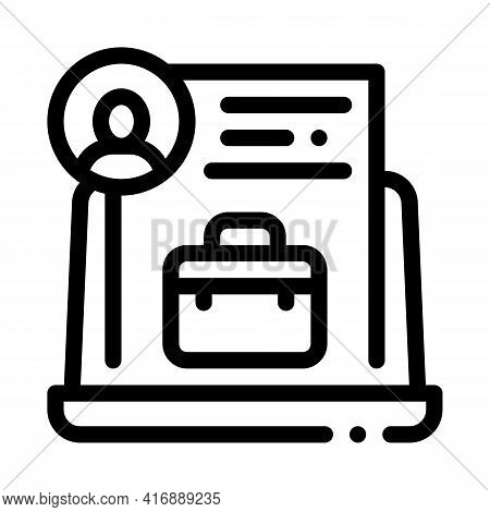 Business Case Or Cv Identity Line Icon Vector. Business Case Or Cv Identity Sign. Isolated Contour S
