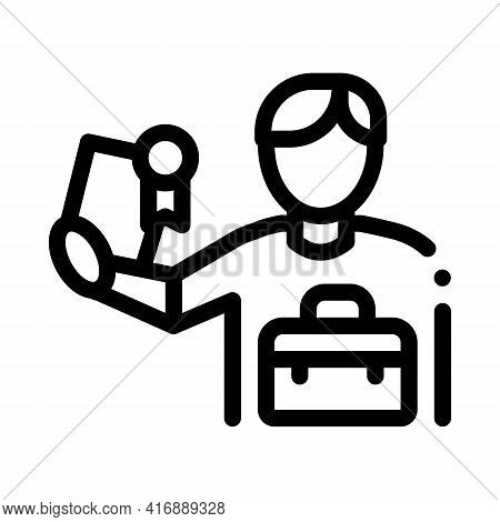Certificate License For Work Line Icon Vector. Certificate License For Work Sign. Isolated Contour S