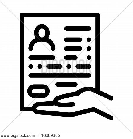 Questionnaire For License Line Icon Vector. Questionnaire For License Sign. Isolated Contour Symbol