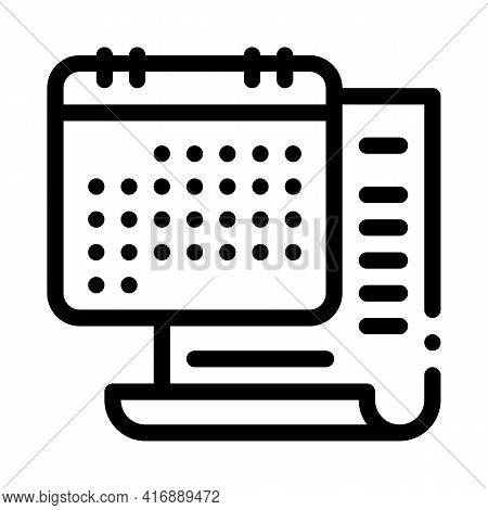 Date Of License Line Icon Vector. Date Of License Sign. Isolated Contour Symbol Black Illustration