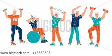 Elderly Senior Active People Cartoon Characters Doing Sport Exercises, Flat Vector Illustration Isol