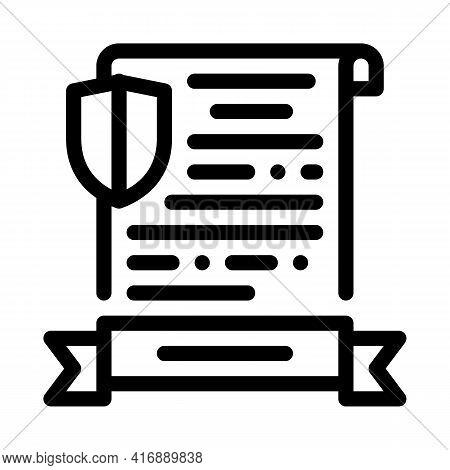 Insurance License Line Icon Vector. Insurance License Sign. Isolated Contour Symbol Black Illustrati