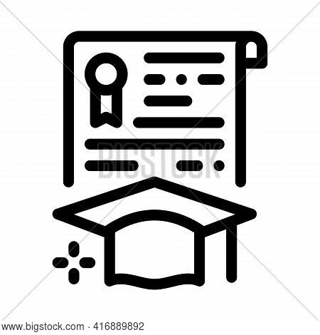 Educational License Diploma Line Icon Vector. Educational License Diploma Sign. Isolated Contour Sym