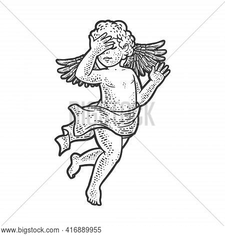 Angel Cupid Baby With Facepalm Hand Gesture Sketch Engraving Vector Illustration. T-shirt Apparel Pr