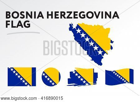 Various Designs Of The Bosnia And Herzegovina Flag And Map. World Flags. Vector Set. Circle Icon. Br
