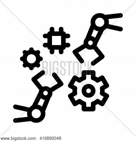 Robotic Arm Process Of Machine Learning Line Icon Vector. Robotic Arm Process Of Machine Learning Si