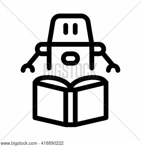 Robot Automatic Solution Line Icon Vector. Robot Automatic Solution Sign. Isolated Contour Symbol Bl
