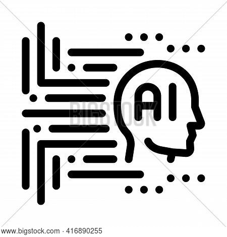 Artificial Intelligence Line Icon Vector. Artificial Intelligence Sign. Isolated Contour Symbol Blac