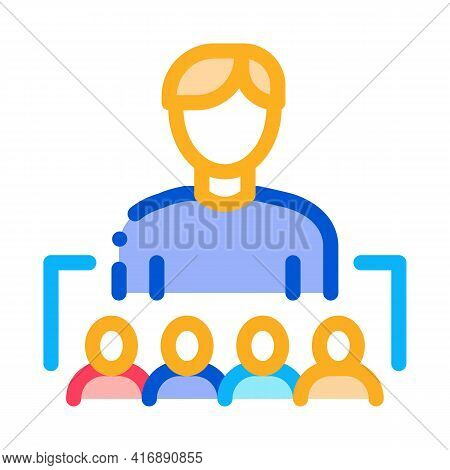 Working In Team Or Leadership Of Administrator Color Icon Vector. Working In Team Or Leadership Of A