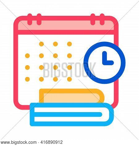 Schedule And Daily Routine Of Administrator Color Icon Vector. Schedule And Daily Routine Of Adminis