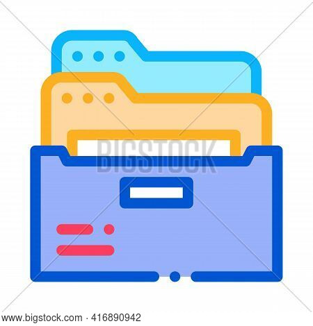 Archive Folders Of Administrator Color Icon Vector. Archive Folders Of Administrator Sign. Isolated
