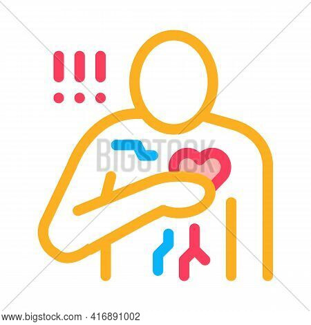 Miocardial Infarction, Heart Attack Color Icon Vector. Miocardial Infarction, Heart Attack Sign. Iso