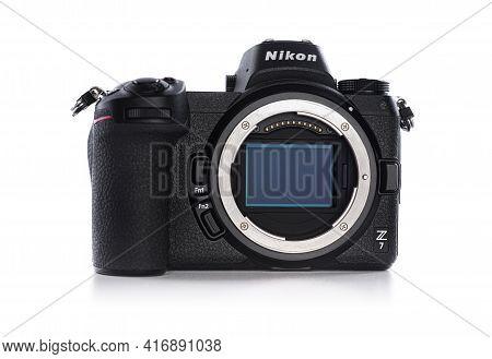 Uzhgorod, Ukraine - April, 2021: Nikon Z7 First Mirrorless Camera Without A Lens From The Nikon Comp