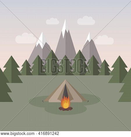 Wanderlust Camping Adventure In The Wilderness Tent In Snowy Mountain