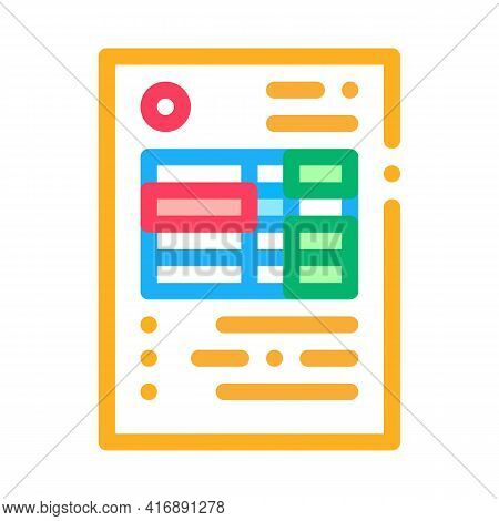 Document With Table Of Audit Credit And Debit Color Icon Vector. Document With Table Of Audit Credit
