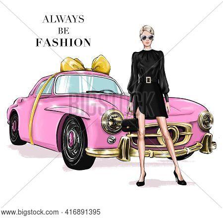 Fashion Blond Hair Girl Standing Near Pink Retro Car. Beautiful Young Woman With Classic Handbag. Pr