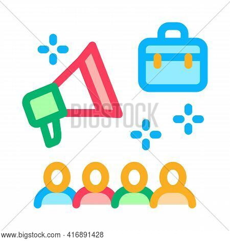 Advertisement Of Audit Company Color Icon Vector. Advertisement Of Audit Company Sign. Isolated Symb