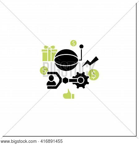 Technological Unemployment Glyph Icon.fighting Against Technologization And Automation Enterprises.
