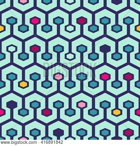 Vector Seamless Pattern With Geometric Tracery Of Colorful Hexagons. For  Decoration, Invitation, Fa