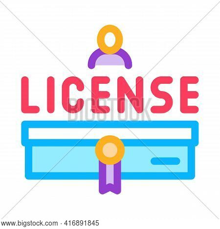 Diploma License Color Icon Vector. Diploma License Sign. Isolated Symbol Illustration