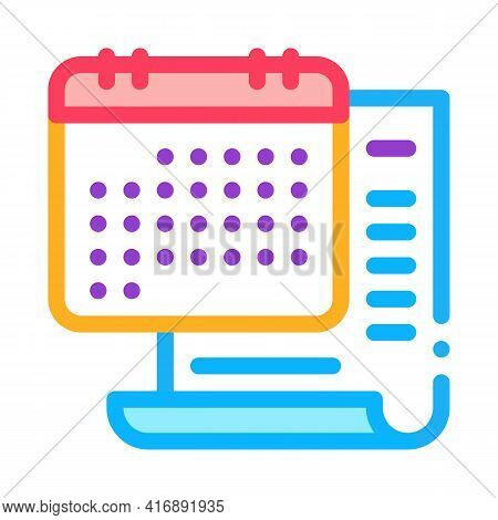 Date Of License Color Icon Vector. Date Of License Sign. Isolated Symbol Illustration