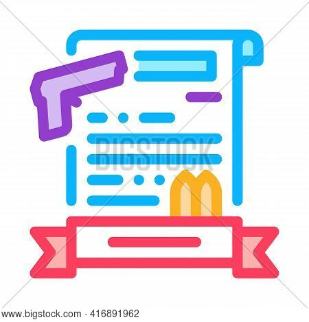Weapon License Color Icon Vector. Weapon License Sign. Isolated Symbol Illustration
