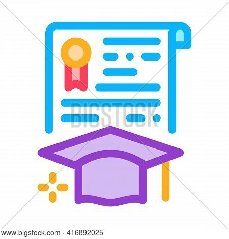 Educational License Diploma Color Icon Vector. Educational License Diploma Sign. Isolated Symbol Ill