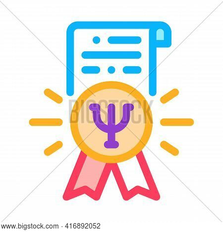 Psychological Counseling License Color Icon Vector. Psychological Counseling License Sign. Isolated