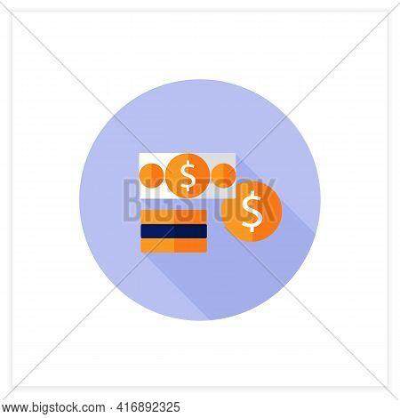 Financial Assets Flat Icon. Enterprises Part Assets. Financial Resources. Cash, Securities, Debt.con