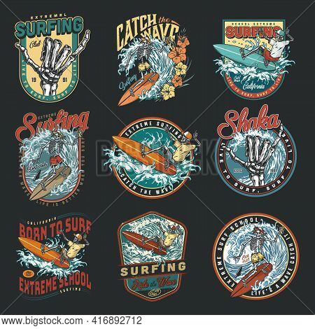 Surfing Vintage Colorful Labels Set With Inscriptions Skeleton Surfers In Baseball Caps And Shorts R
