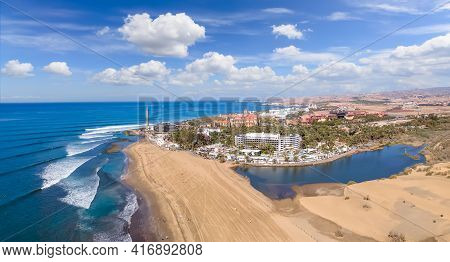 Aerial Photos Of Maspalomas Beach,  Lighthouse And Town In Gran Canary, Spain