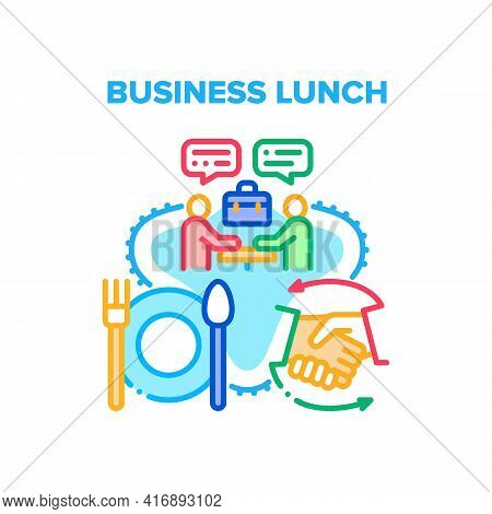 Business Lunch Vector Icon Concept. Business Lunch And Discussion Have Businesspeople In Restaurant.