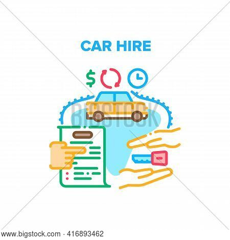 Car Hire Service Vector Icon Concept. Car Hire Service Agency Signing Agreement For Hiring Transport